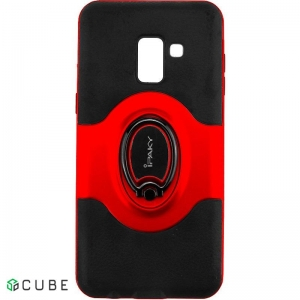 Чехол-накладка Ipaky 360° Free Rotation Ring Holder case Samsung Galaxy A8 Plus A730F Red
