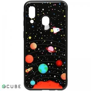 Чехол-накладка TOTO Cartoon Print Glass Case Samsung Galaxy A40 Planets