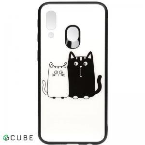 Чехол-накладка TOTO Cartoon Print Glass Case Samsung Galaxy A40 Cats White/Black