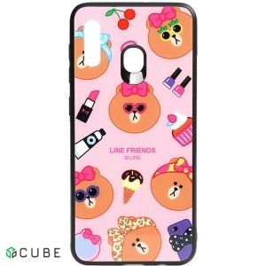 Чехол-накладка TOTO Cartoon Print Glass Case Samsung Galaxy A20/A30 Line friends Linc