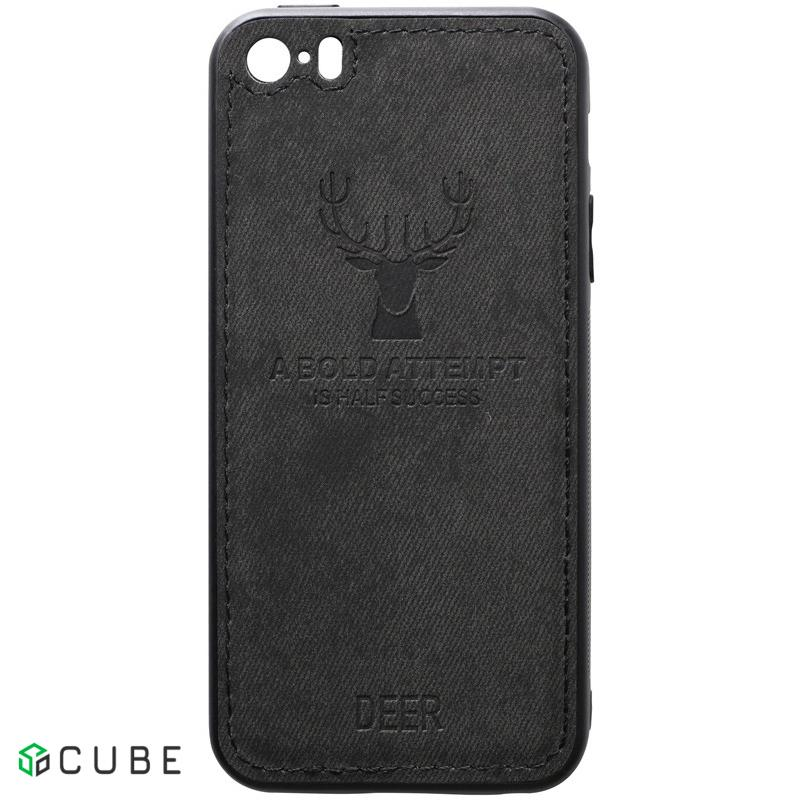 Чехол-накладка TOTO Deer Shell With Leather Effect Case Apple iPhone 5/5s/SE Black