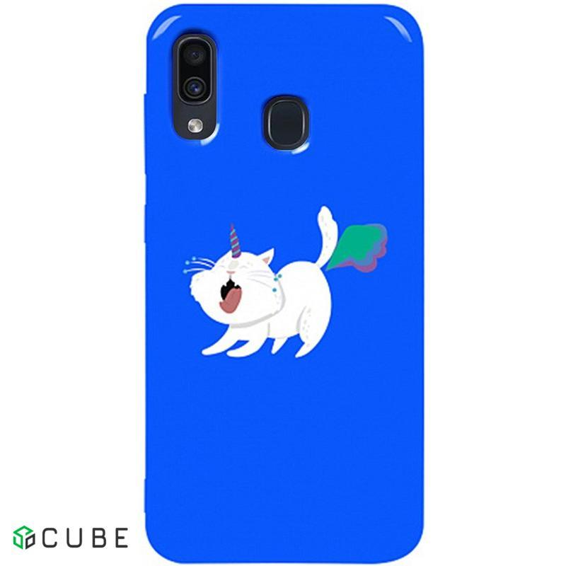 Чехол-накладка TOTO Pure TPU 2mm Print Case Samsung Galaxy A20/A30 #6 Cat Puk Blue