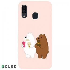 Чехол-накладка TOTO Matt TPU 2mm Print Case Samsung Galaxy A20/A30 #66 Bear Icecreame Sand pink