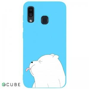 Чехол-накладка TOTO Matt TPU 2mm Print Case Samsung Galaxy A20/A30 #57 Bear Tongue Sky Blue