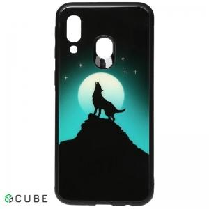 Чехол-накладка TOTO Night Light Print Glass Case Samsung Galaxy A40 Howling Wolf