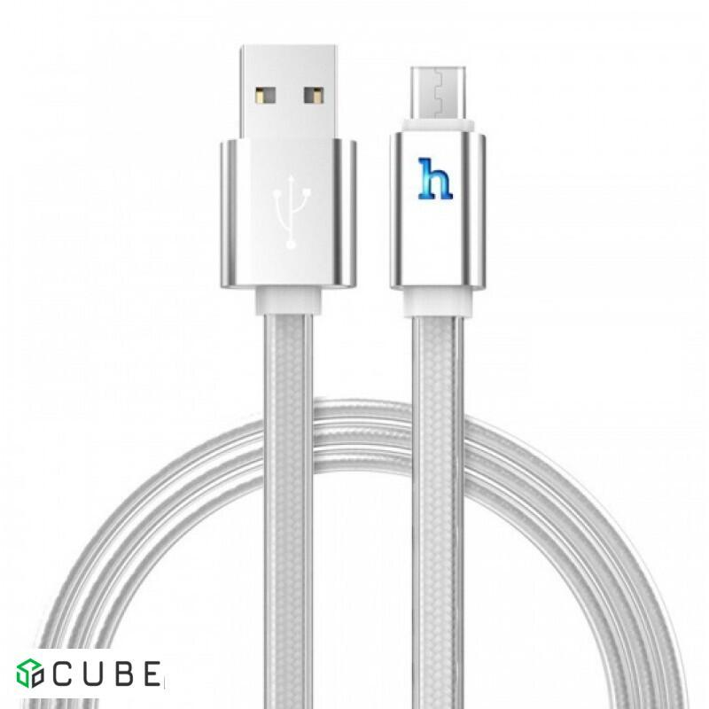 Кабель HOCO UPL12 Plus Jelly Braided для Micro(Smart Light) 2,4A/1,2m. Silver