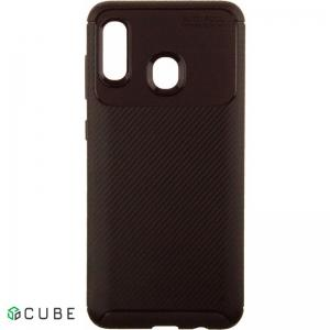 Чехол-накладка Ipaky Carbon Fiber Series/Soft TPU Case Samsung Galaxy A20/A30 Brown