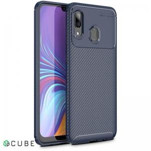 Чехол-накладка Ipaky Carbon Fiber Series/Soft TPU Case Samsung Galaxy A40 Brown