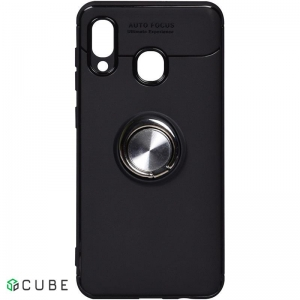 Чехол-накладка TOTO Car Magnetic Ring TPU Case Samsung Galaxy A20/A30 Black/Silver
