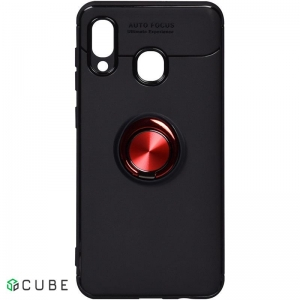 Чехол-накладка TOTO Car Magnetic Ring TPU Case Samsung Galaxy A20/A30 Black/Red