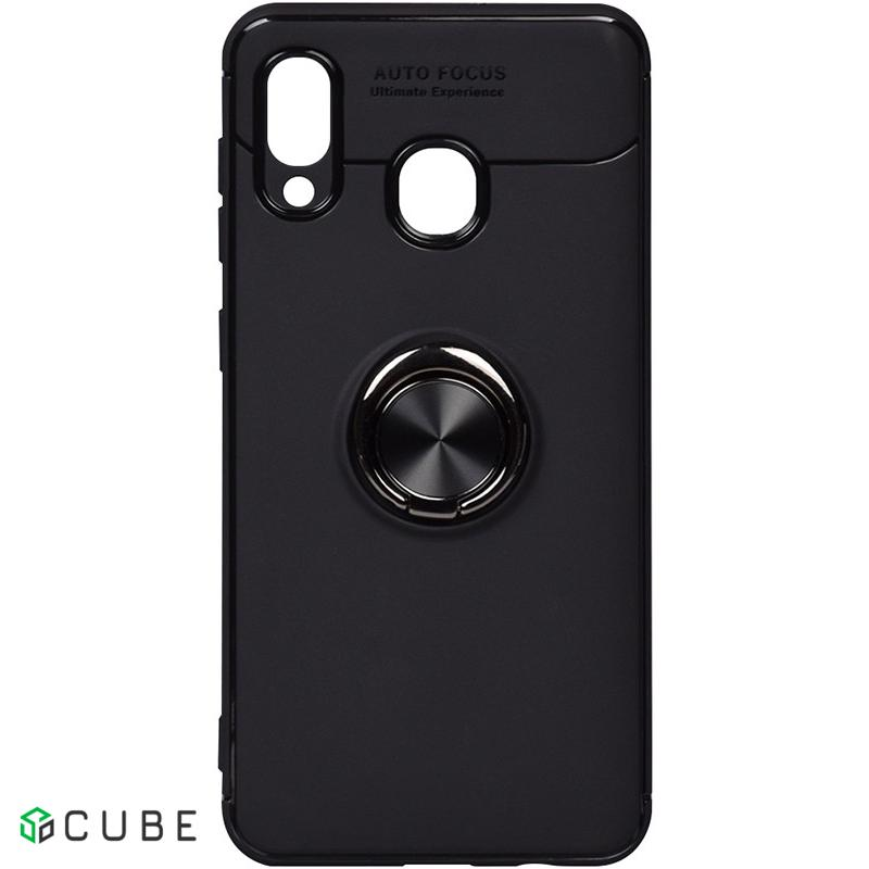 Чехол-накладка TOTO Car Magnetic Ring TPU Case Samsung Galaxy A20/A30 Black/Black